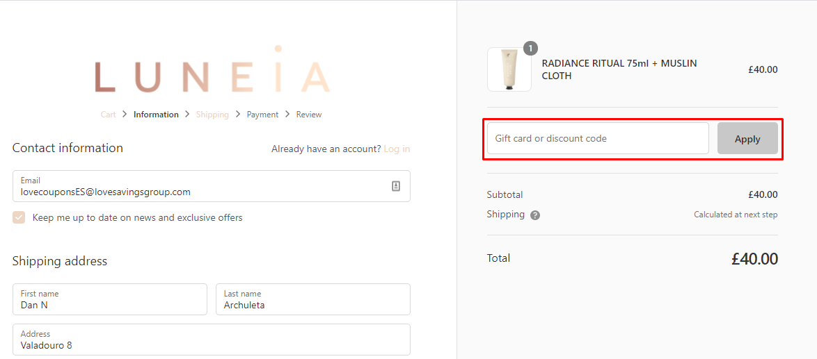 How do I use my Luneia gift/discount code?