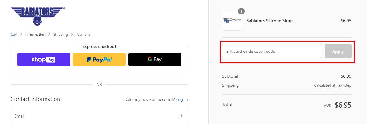 How do I use my Babiators discount code?