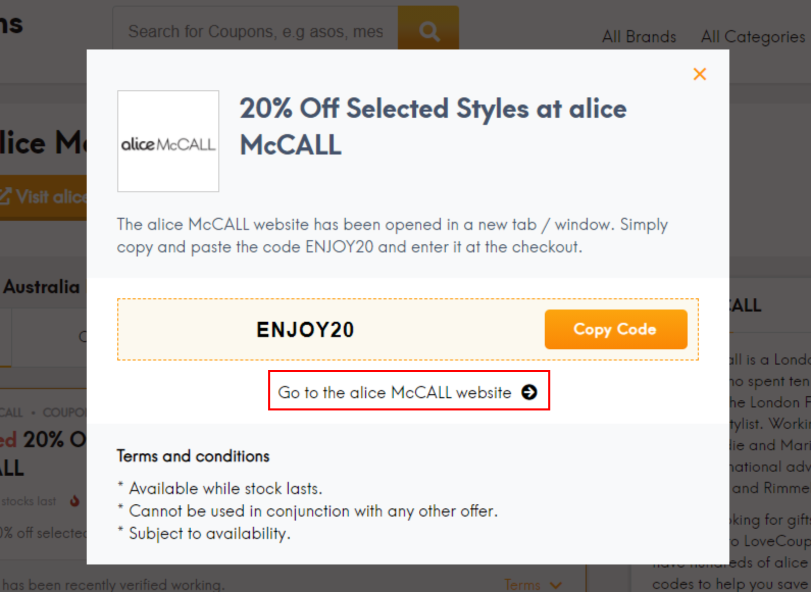 How do I use my alice McCALL discount code?