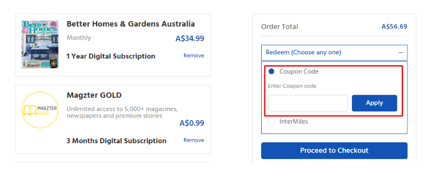 How do I use my Magzter coupon code?