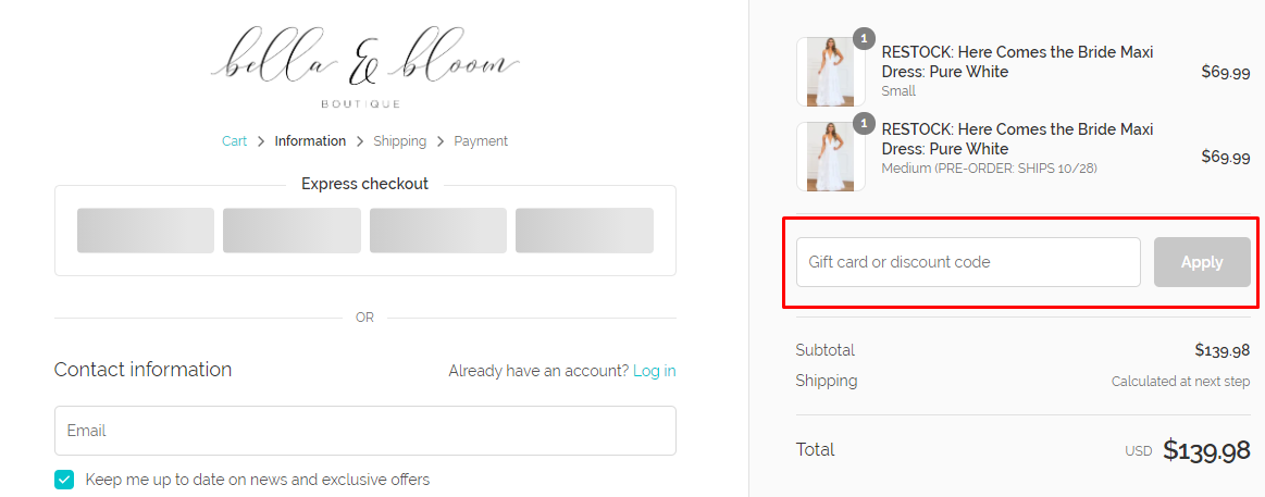 How do I use my Bella & Bloom Boutique discount code?