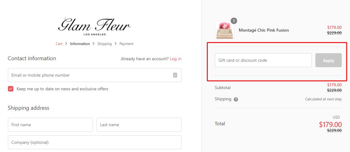 How do I use my Glam Fleur discount code?