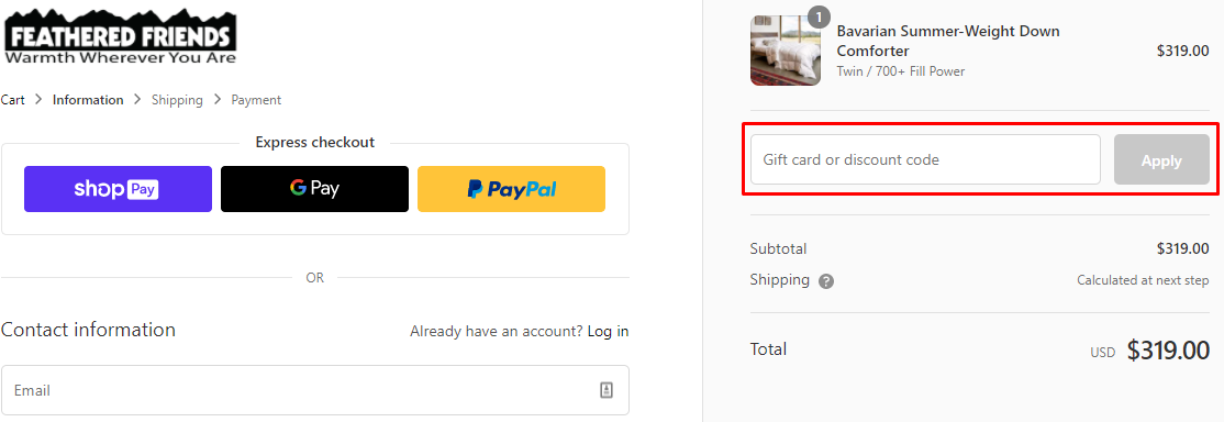 How do I use my Feathered Friends discount code?