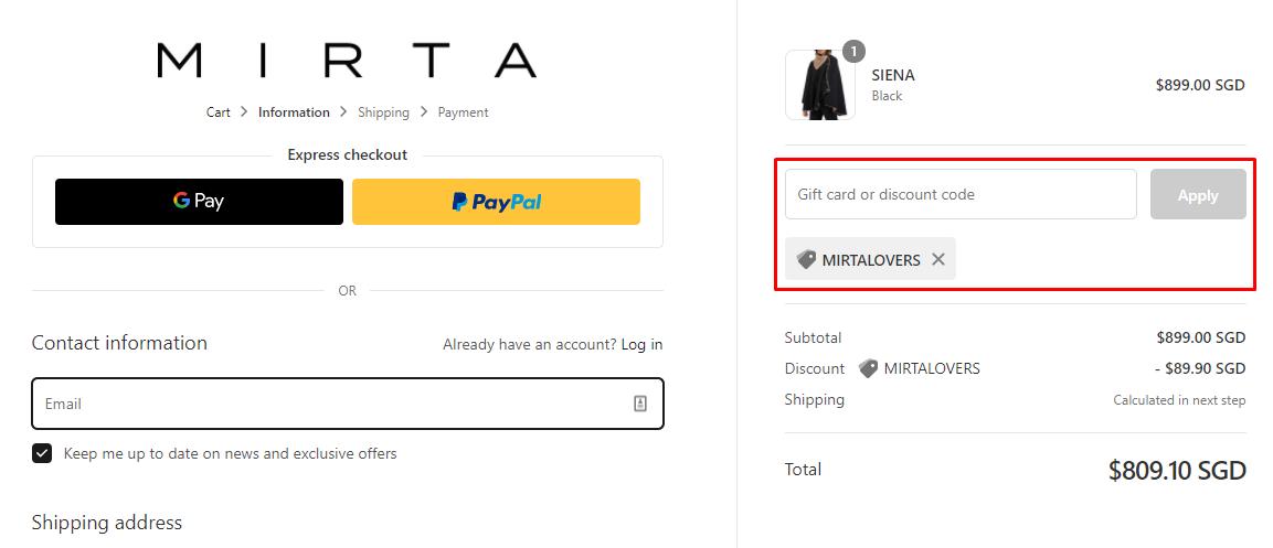 How do I use my Mirta discount code?