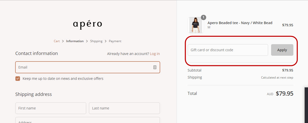 How do I use my apero label discount code