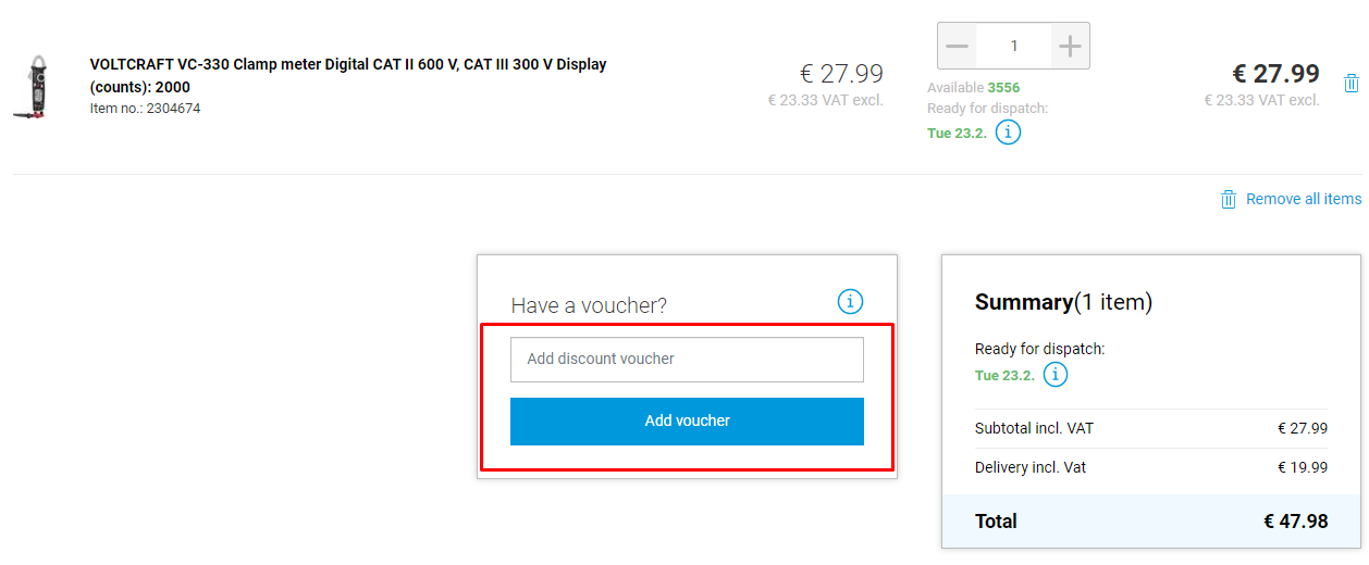 How do I use my Conrad Electronic voucher code?