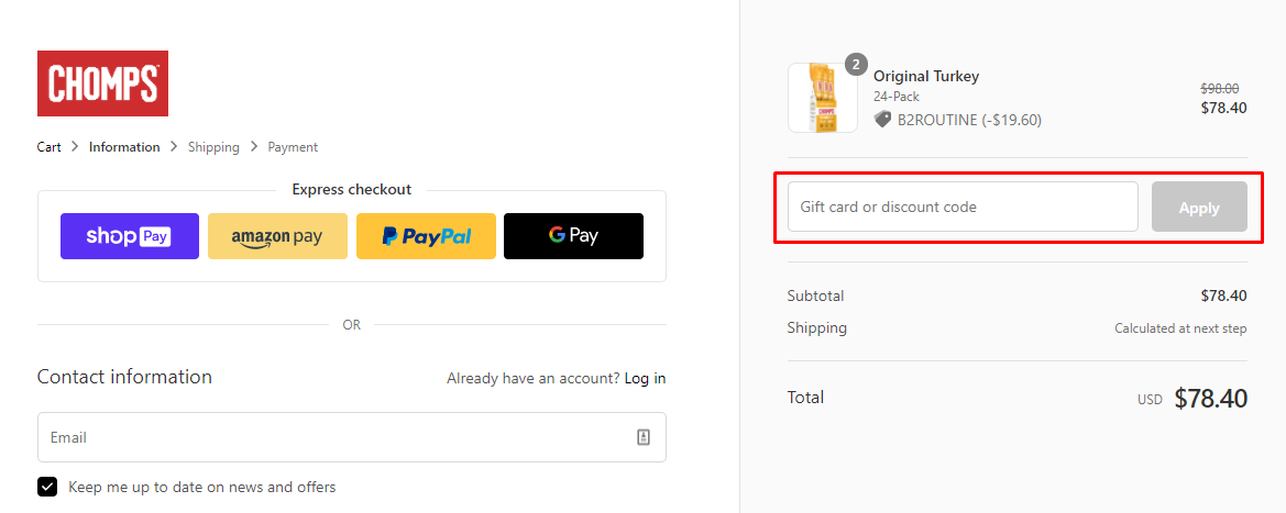 How do I use my Chomps discount code?