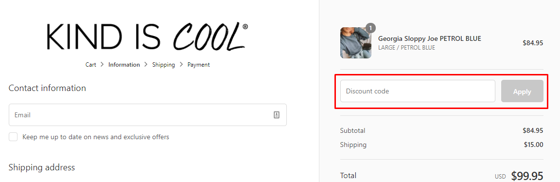 How do I use my Kind Is Cool discount code?