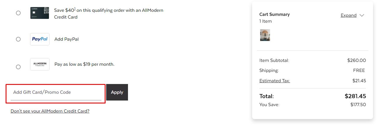 How do I use my AllModern promo code?