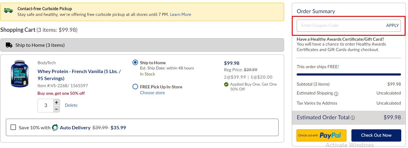 How do I use my Vitamin Shoppe coupon code?