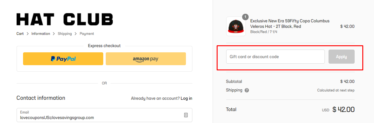 How do I use my Hat Club discount code?