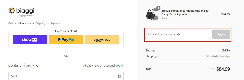 How do I use my Biaggi discount code?