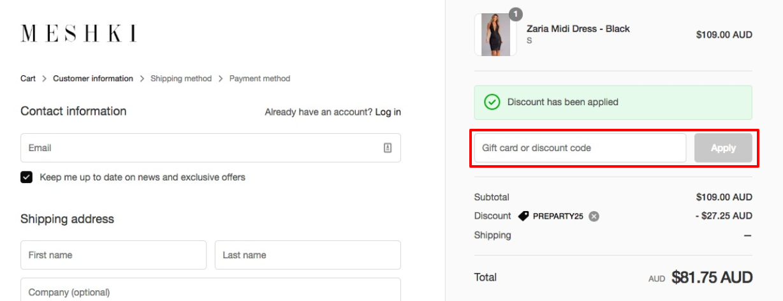 How do I use my MESHKI discount code?