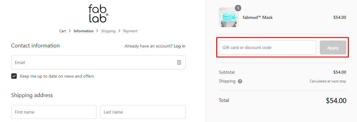 How do I use my Fablab discount code?