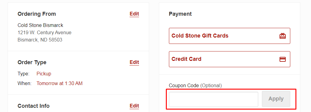 How do I use my Cold Stone Creamery coupon code?