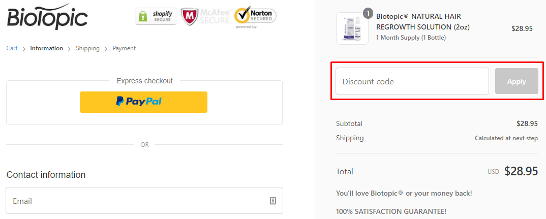 How do I use my BioTopic discount code?