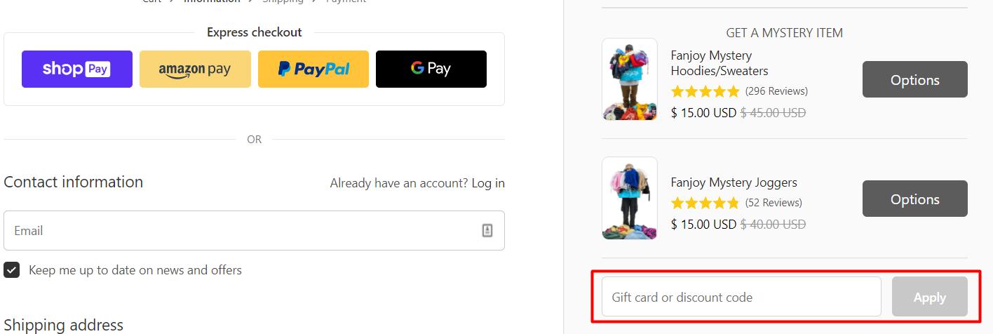 How do I use my Fanjoy discount code?
