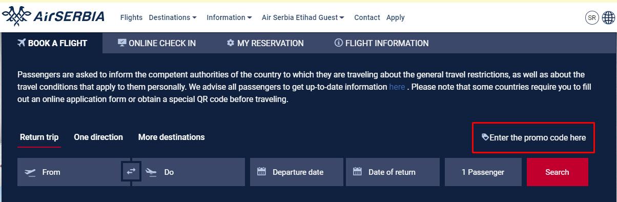How do I use my Air Serbia promo code?