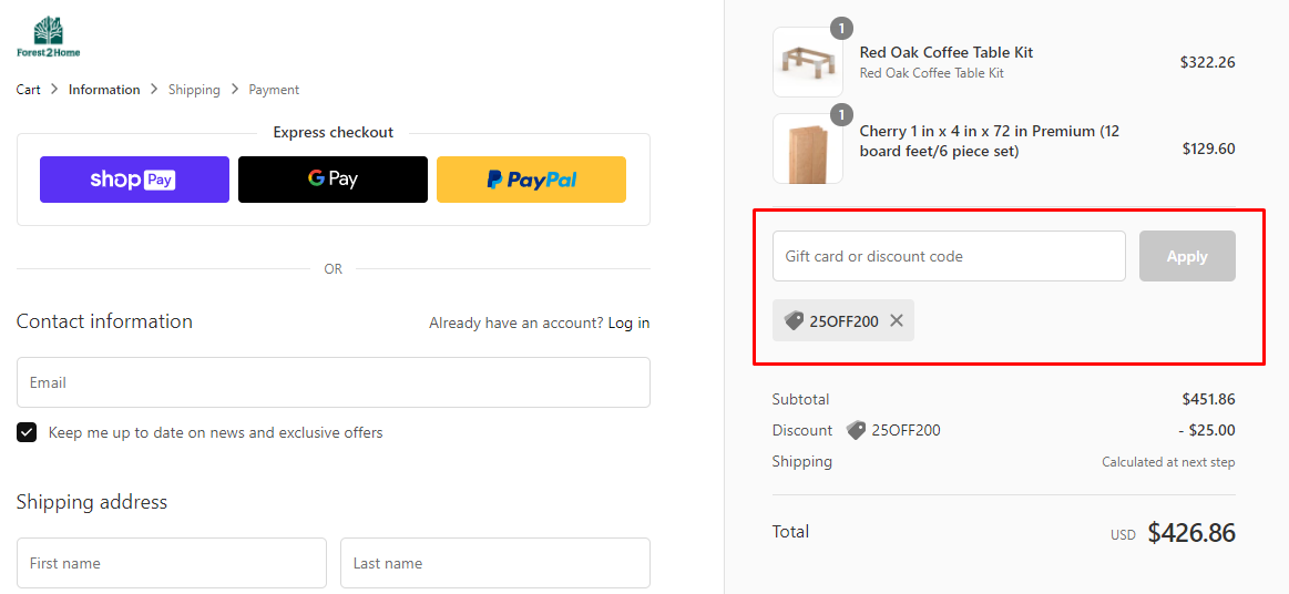 How do I use my Forest 2 Home discount code?