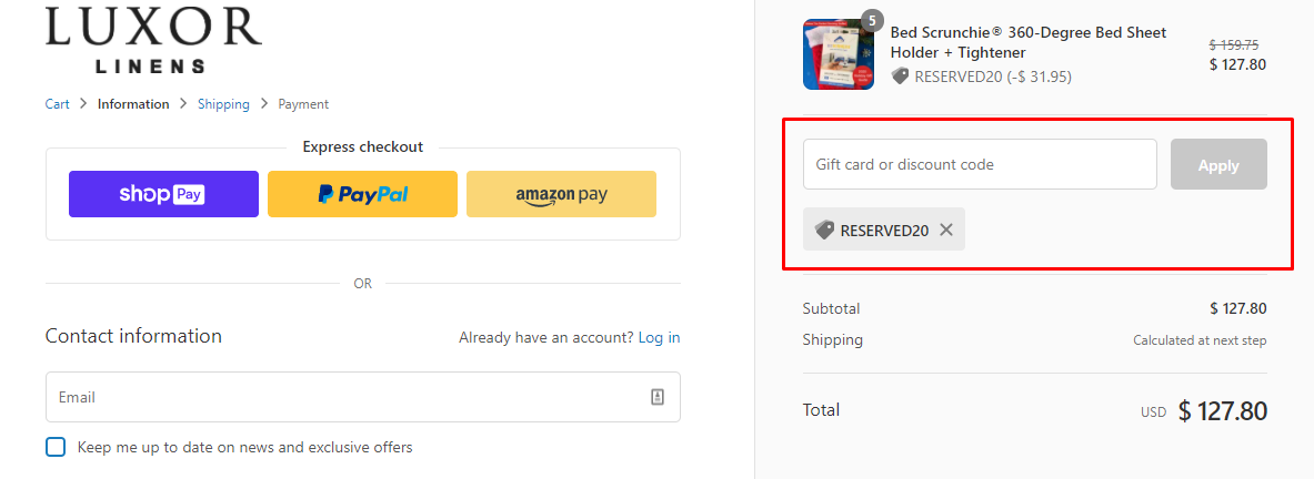 How do I use my Luxor Linens discount code?