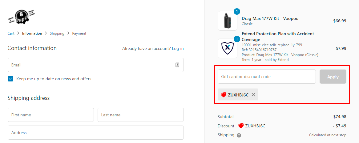 How do I use my EightVape discount code?