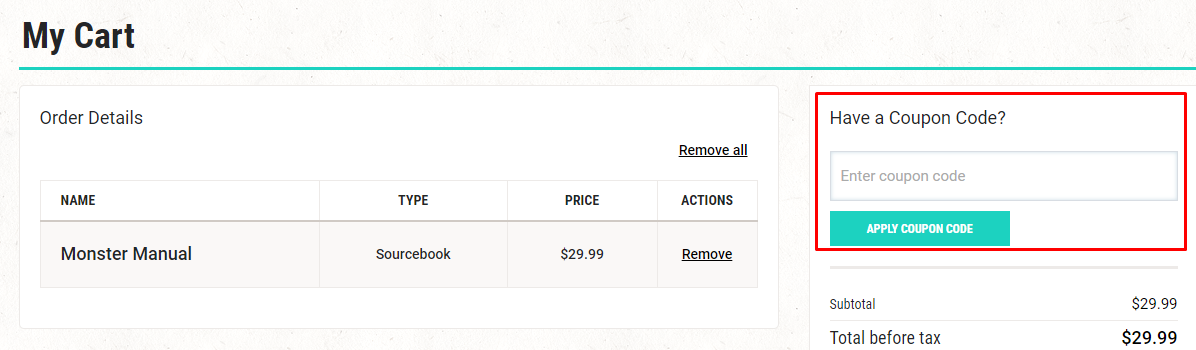 How do I use my D&D Beyond coupon code?