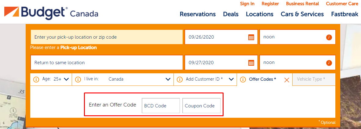 How do I use my Budget offer code?