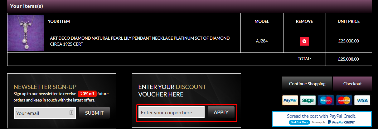 How do I use my Laurelle Antique Jewellery coupon code?