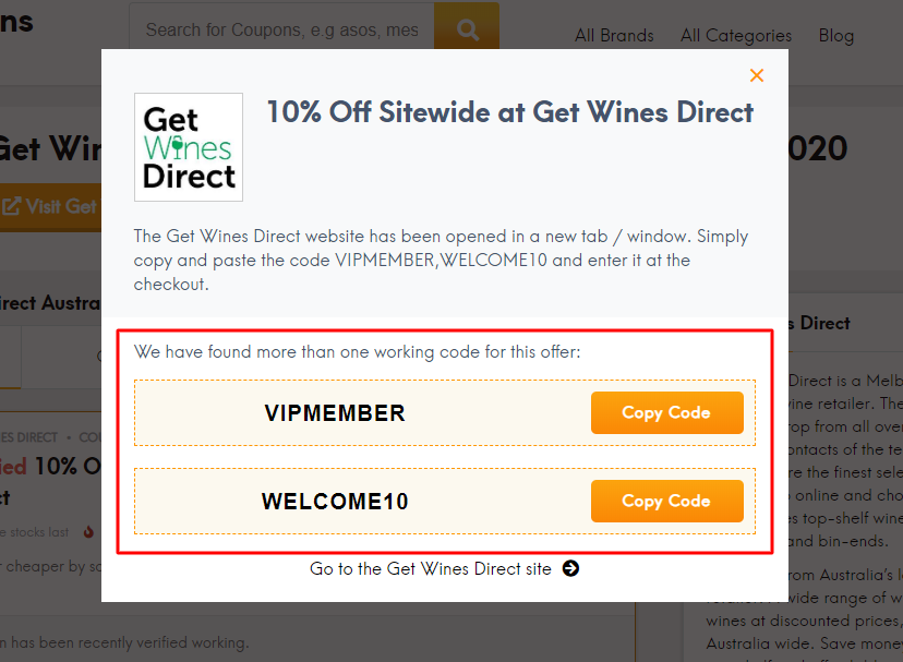 Go to Get Wines Direct site