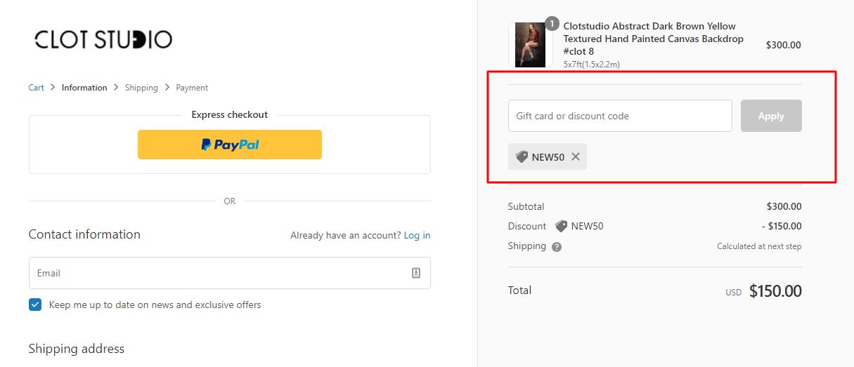 How do I use my Clot Studio discount code?