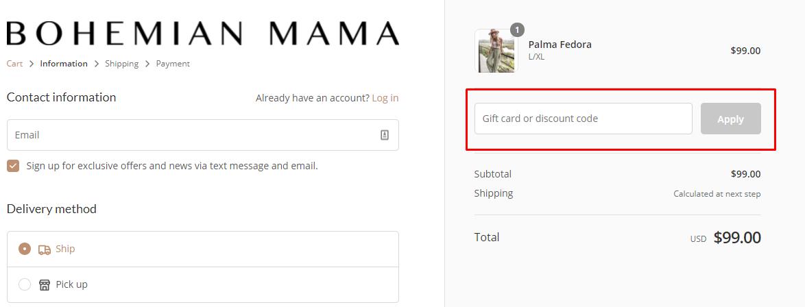 How do I use my Bohemian Mama discount code?