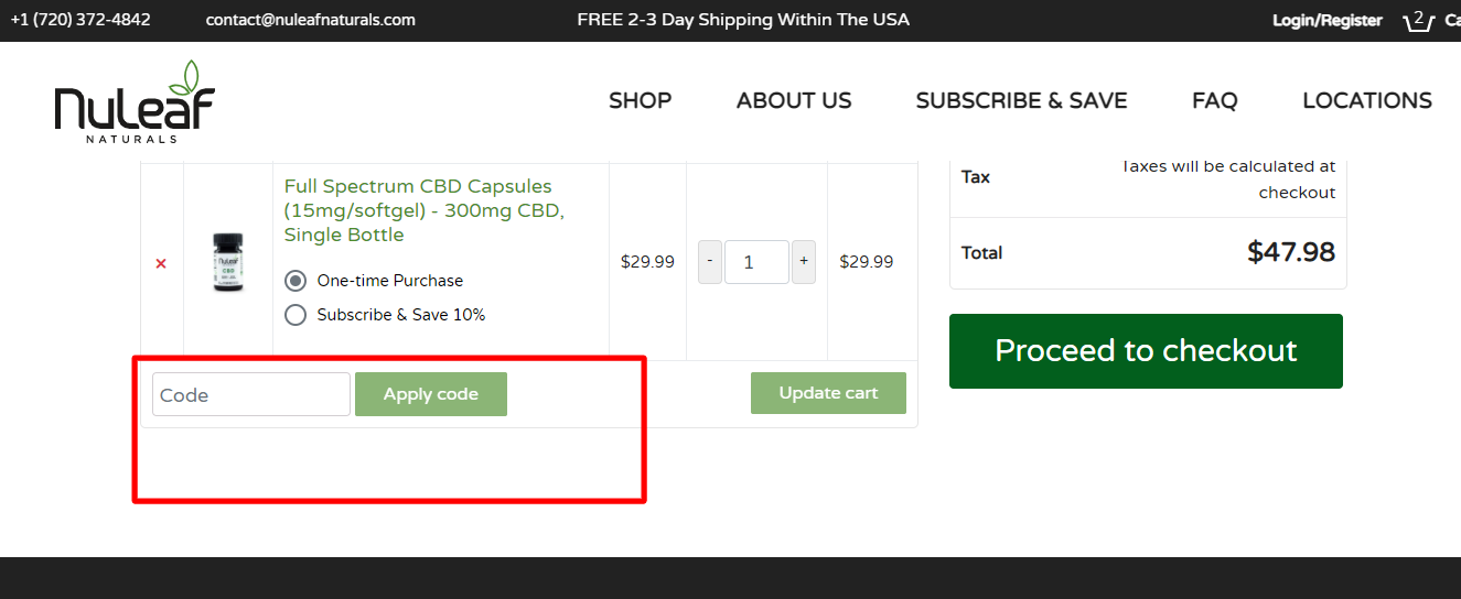How do I use my nuleaf NATURALS coupon code?