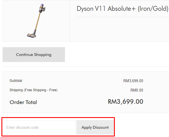 How do I use my Dyson coupon code?