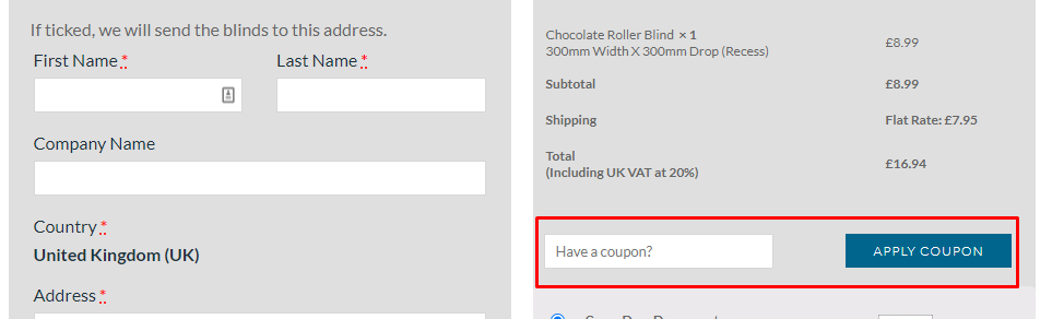 How do I use my Blinds Direct coupon code?