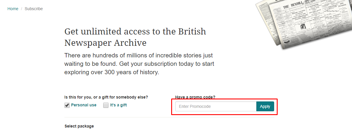 How do I use my The British Newspaper Archive discount code?