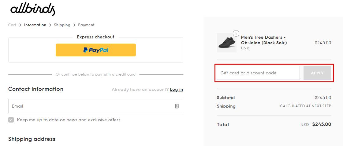 How do I use my Allbirds discount code?