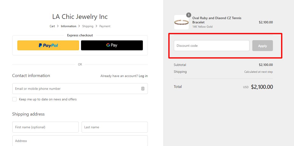 How do I use my Chic JEWLERY discount code?