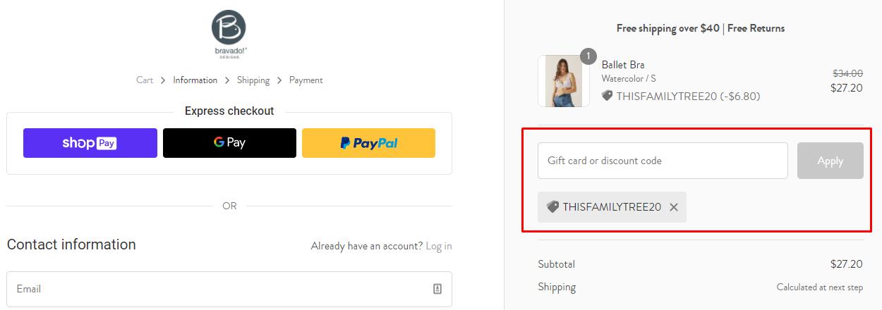 How do I use my Bravado Designs discount code?