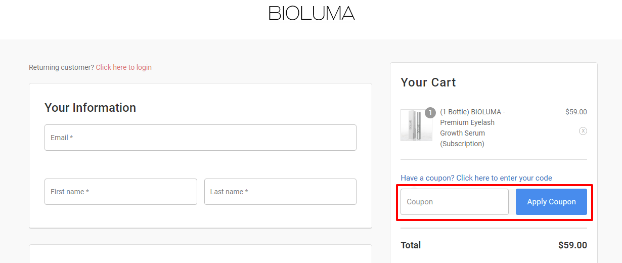 Checkout Bioluma