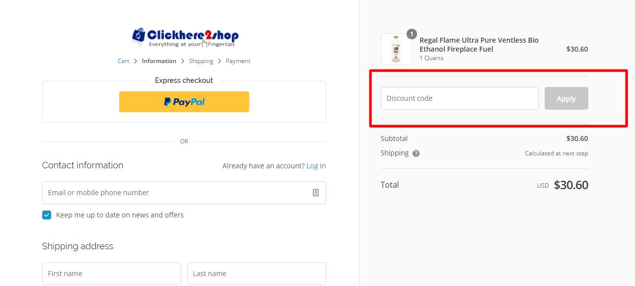 How do I use my Clickhere2shop discount code?