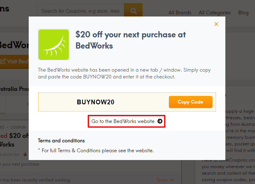 How do I use my BedWorks voucher code?
