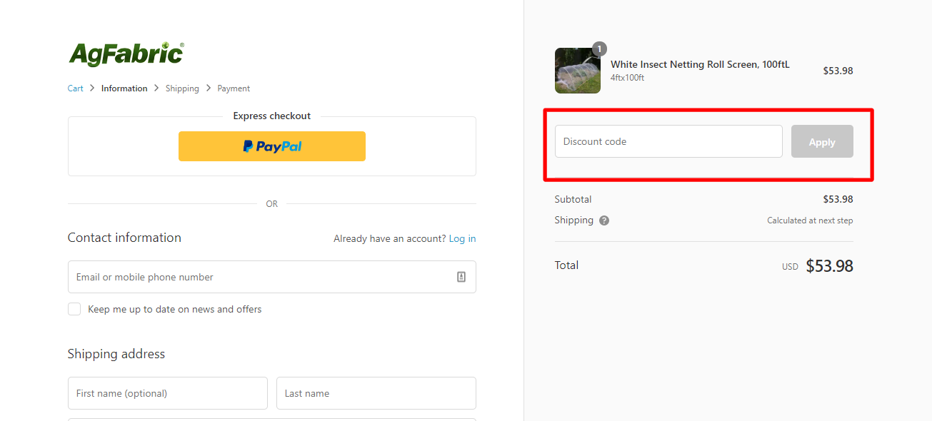 How do I use my AgFabric discount code?