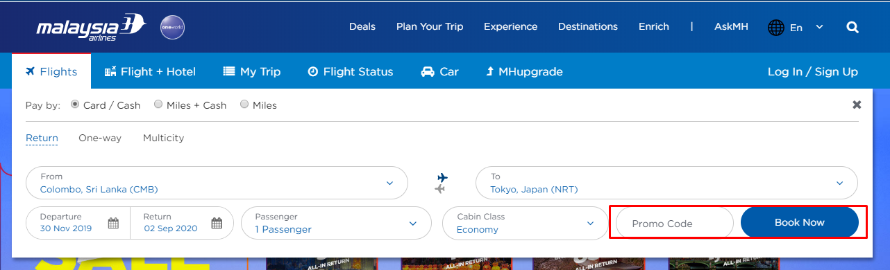 How do I use my Malaysia Airlines discount code?