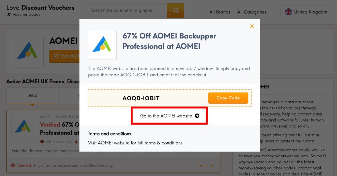 AOMEI UK Get Code