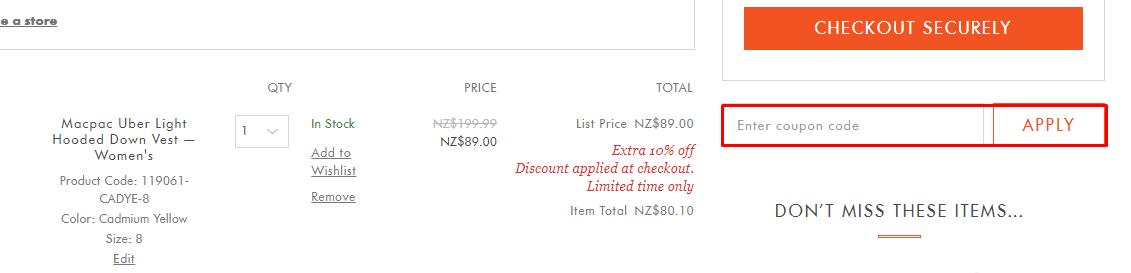 How do I use my Macpac discount code?