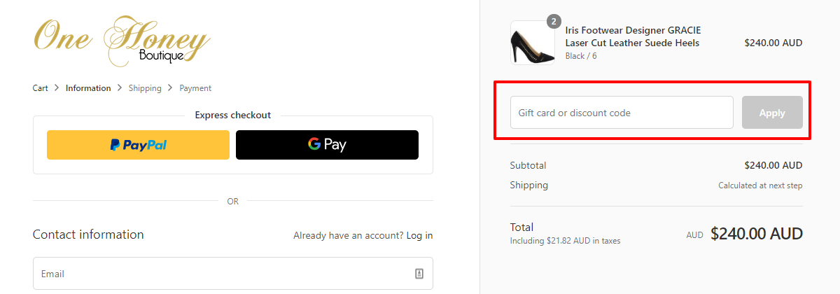 How do I use my One Honey Boutique discount code?
