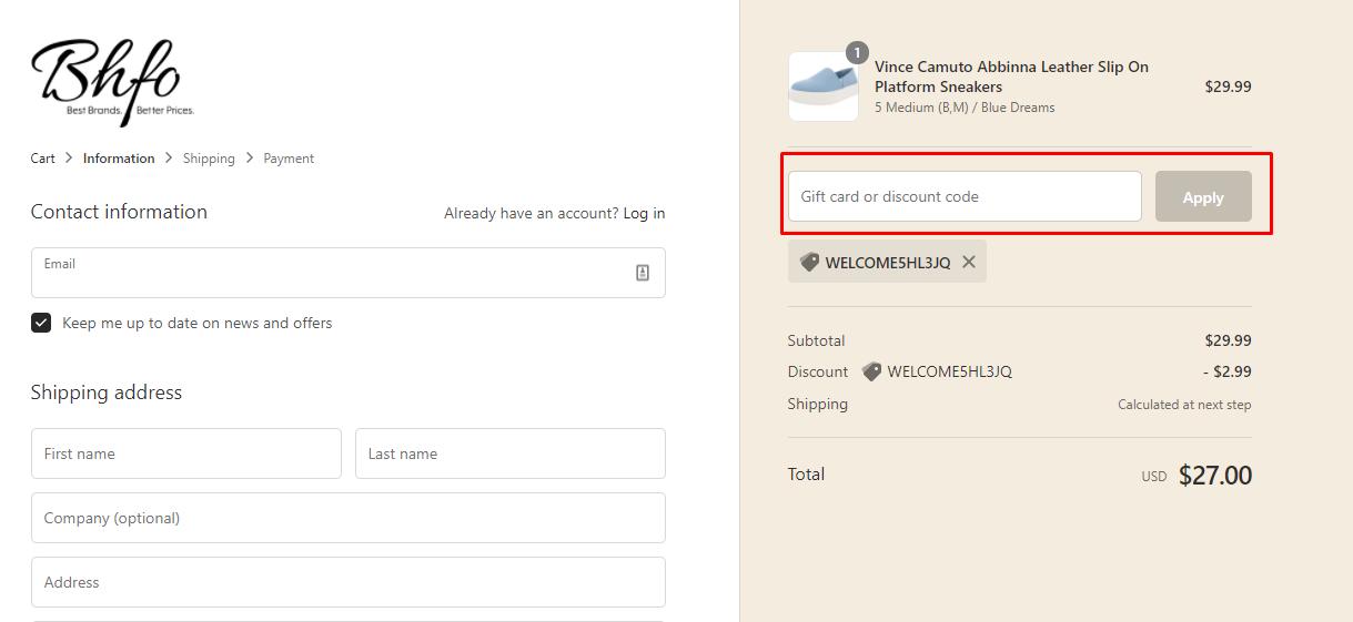 How do I use my BHFO discount code?