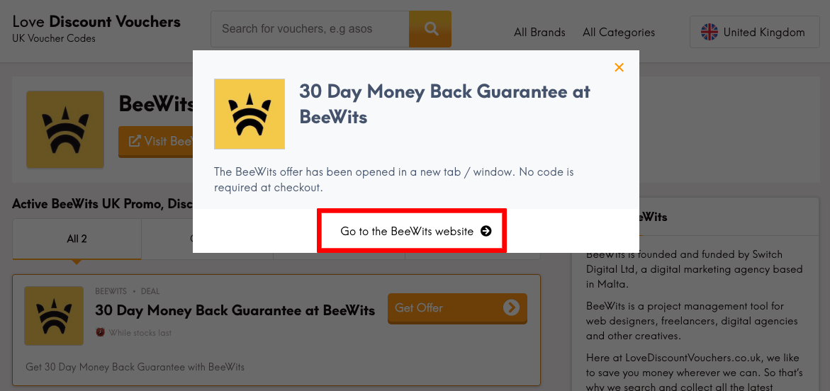 Beewits UK Get Offer