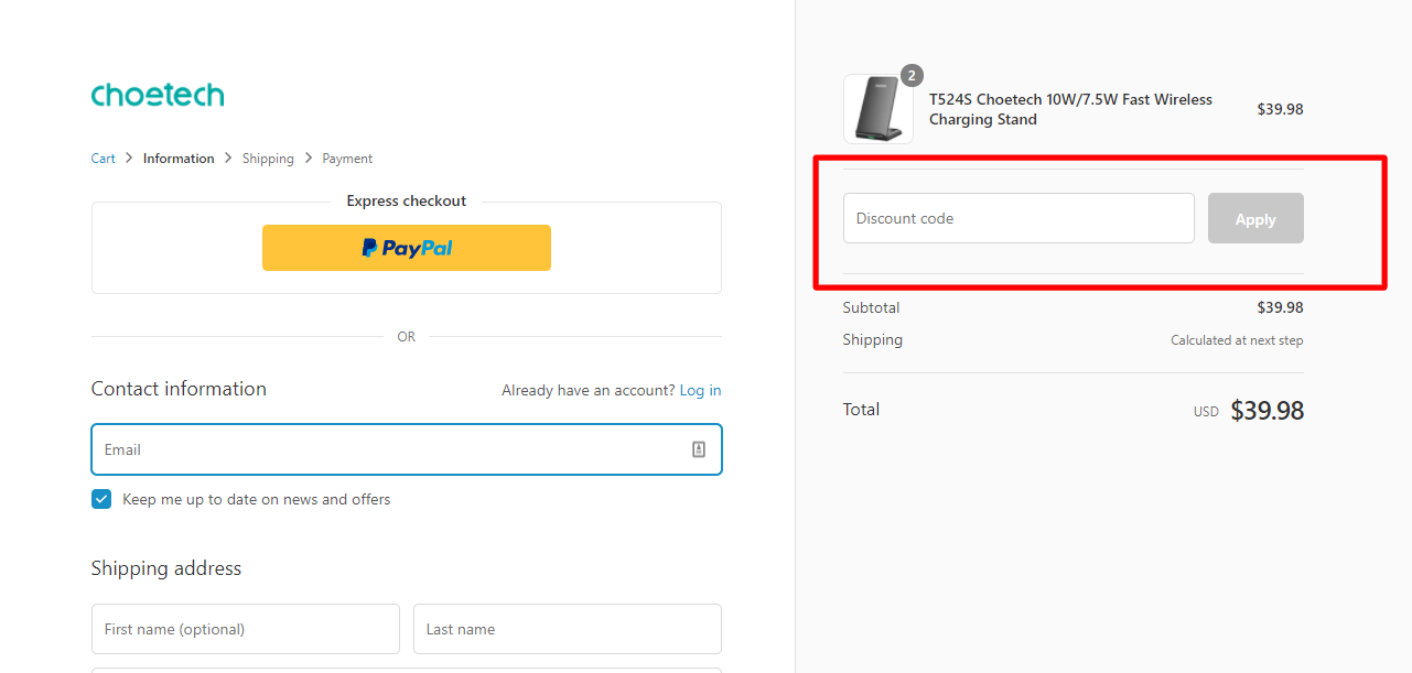 How do I use my Choetech coupon code?