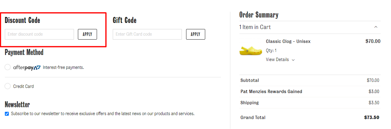 How do I use my Pat Menzies Shoes discount code?